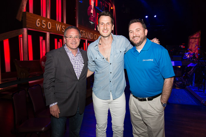 Pictured (L-R): Pete Fisher,Grand Ole Opry; Russell Dickerson; J.R. Schumann, Sirius XM