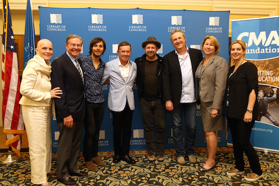Pictured (L-R): Library of Congress Chief of Music Division Susan H. Vita, Jim Free, Charlie Worsham, CMA Foundation Board Chairman Joe Galante, Kristian Bush, Jim Collins, CMA CEO Sarah Trahern and CMA Board Member Jennie Smythe.