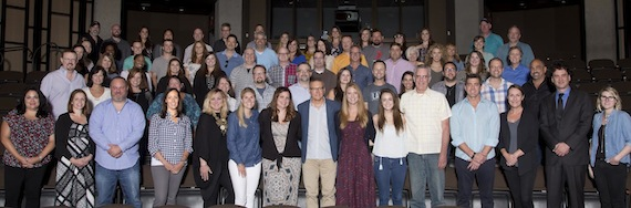 Sony Music Nashville staff at the Country Music Hall of Fame with Museum Editor Peter Cooper. Photo: Alan Poizner