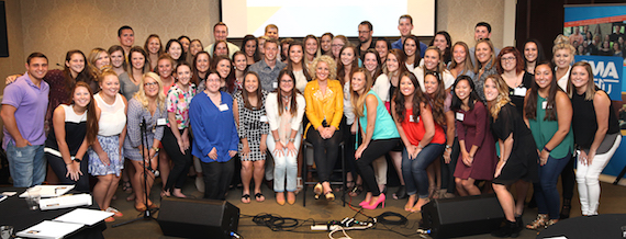 Cam, center, with students at the 2016 CMA EDU Leadership Summit at Belmont University in Nashville on Tuesday, July 19, 2016.