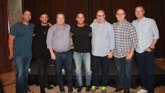 Pictured (L-R): songwriter Tommy Cecil, manager Zach Beebe, BMI's Bradley Collins, singer-songwriter Carter Winter, producer Mark Bright, producer Chad Carlson, and APA's Jim Butler.