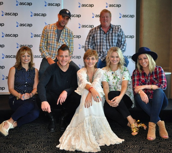 Pictured (L-R): ASCAP's Kele Currier and Michael Martin, Brandon Robert Young, Clare Bowen, ASCAP's Mike Sistad and Beth Brinker, and ROAR's Caitlin Stone
