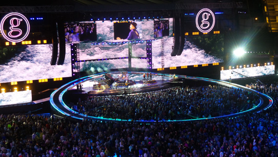 Garth Brooks takes over Yankee Stadium in New York City for a second consecutive night on Saturday, July 9, 2016.