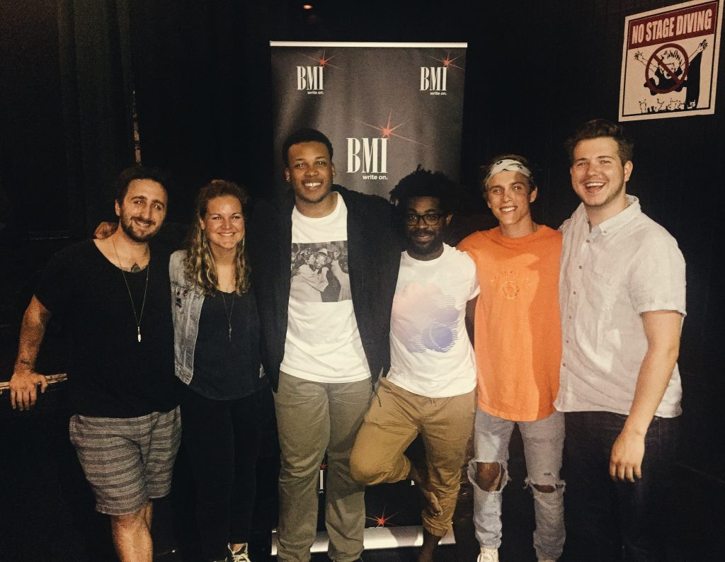 Pictured (L-R): Atlantic Records' Chris Martignago, BMI's Nina Carter, BMI songwriters CAMM, R. Lum. R. and Zach Taylor and BMI's Josh Tomlinson.