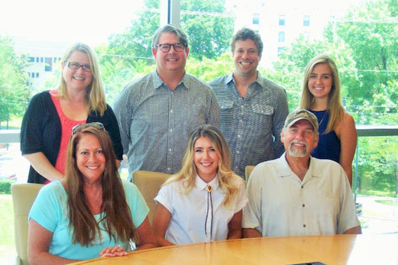Pictured (Back row, L-R): WME's Abby Wells-Baas, Jay Williams and Rush Davenport; Jaela Scaife, Little Extra Music. Front row (L-R): Lisa Ramsey-Perkins, Little Extra Music; Kelsey Waters; Joe Scaife, Little Extra Music.