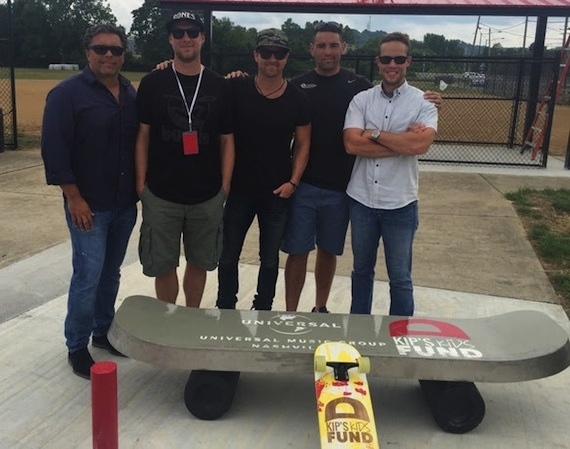 Pictured (L-R): Shawn McSpadden, Red Light Management; Ryan Daughtridge, Bustin Boards; Kip Moore; John Hunter, American Ramp Co. (ARC); Brad Turcotte, UMG Nashville