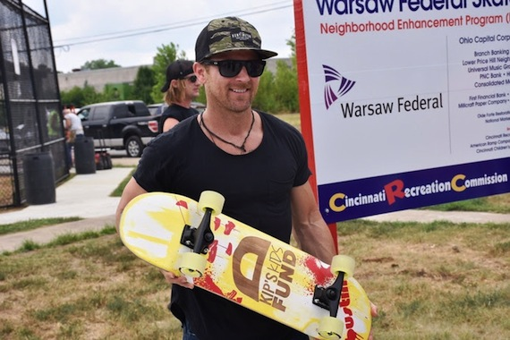 Kip Moore at the opening of Warsaw Federal Skatepark in Cincinnati