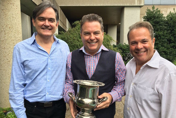 Jeff Gregg (center) received the ceremonial Leadership Music President's Cup as incoming President of the organization. Mike Craft (left) is immediate Past President and Stacy Widelitz (right) is President-Elect