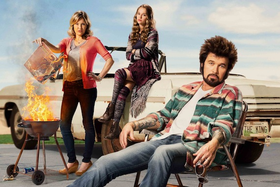 Pictured (L-R): Joey Lauren Adams, Madison Iseman and Billy Ray Cyrus in CMT's 'Still the King'