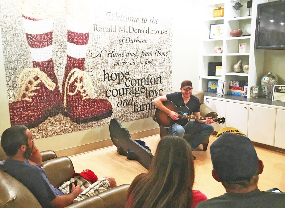 Eric Palsay visits Ronald McDonald House in Raleigh, North Carolina on July 10.