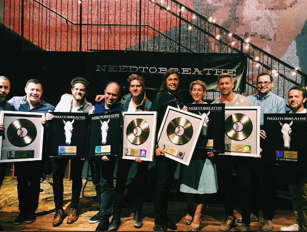 "NEEDTOBREATHE celebrates gold status for their single ""Brother."""