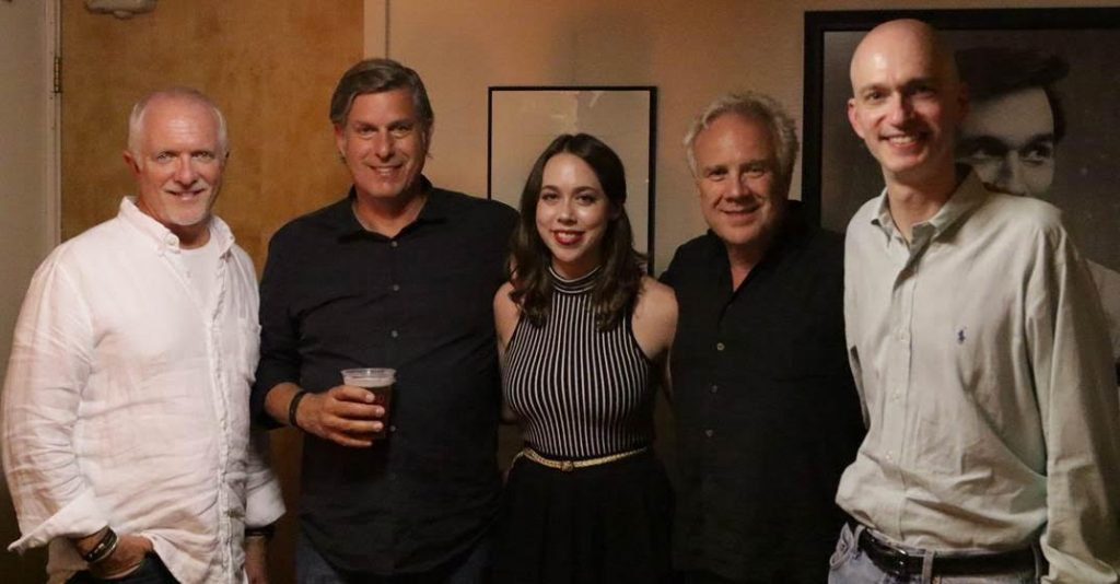 Pictured (L-R): Cliff O'Sullivan, COO Rounder Label Group; Scott Pascucci, Executive, Concord Bicycle Music; Sarah Jarosz; Gary Paczosa, A&R Rounder, Label Group; John Virant, GM Rounder Label Group.