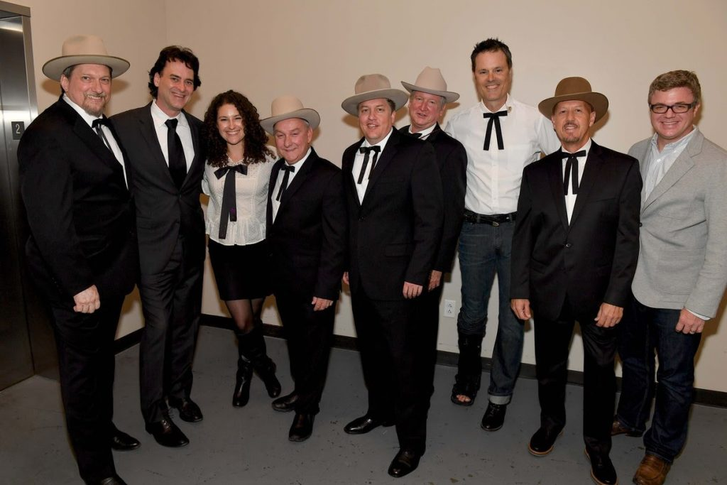 Pictured (L-R): The Earls of Leicester's Jerry Douglas; Country Music Hall of Fame and Museum's Peter Cooper and Abi Tapia; The Earls of Leicester's Charlie Cushman, Shawn Camp, Jeff White, Barry Bales and Johnny Warren; and McLachlan Management's Andrew Stokes at Country Music Hall of Fame and Museum Photo by Jason Davis/Getty Images for Country Music Hall Of Fame & Museum