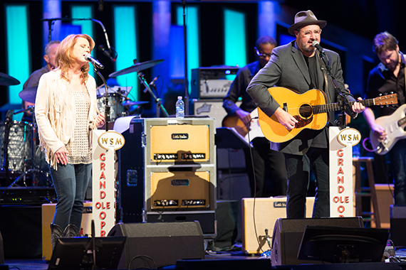 "Longtime friend Patty Loveless performs ""When I Call Your Name"" and ""Go Rest High On That Mountain"" with Vince Gill."