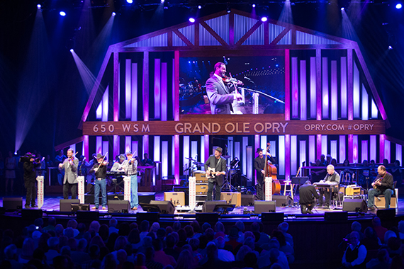 """The Time Jumpers join their bandmate Gill onstage to perform their theme song """"Corrina, Corrina"""" and """"Faint of Heart"""" with Wendy Morten."""