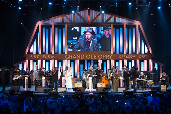 """Gill joined onstage by all of his friends and family for the final performance of the night- """"Liza Jane."""""""