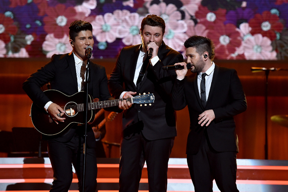 Dan Smyers from Dan + Shay, Chris Young, Shay Mooney from Dan+ Shay. Photo by John Shearer/Getty Images for ACM