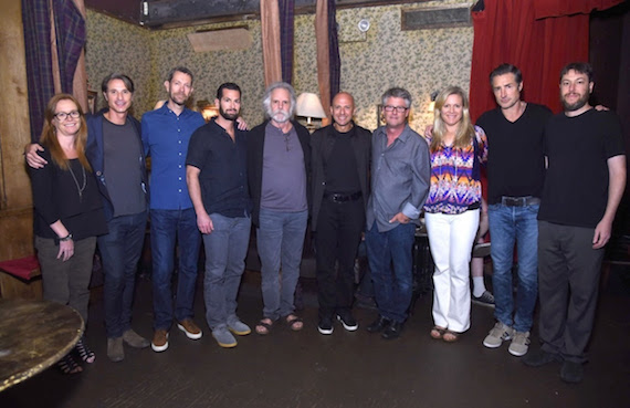"Pictured (L-R): Kristina ""Red"" Tanner (ROAR), Matt Maher (ROAR), Richard Story (President, Commercial Music Group, Sony Music Entertainment), Adam Block (President, Legacy Recordings, Sony Music Entertainment), Bob Weir, Kraig Fox (ROAR), Jed Hilly (Americana Music Association), Liz Norris (ROAR), Bernie Cahill (ROAR) and Matt Busch (ROAR). (Photo Credit: Gary Gershoff)"