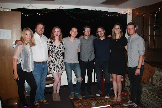 Pictured (L-R): ALT 983's Gabby Sanderson, BMI's Mason Hunter, BMI songwriter/Daybreaks member Heather Bond and Daybreaks members Adam Bokesch, Kaleb Thomas Jones and Bobby Holland, BMI's MaryAnn Keen, Daybreaks member Will Pugh.