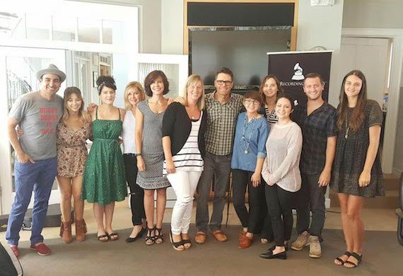 Photo L-R: Eddie Garcia; Nikita Karmen; Courtney White - Project Coordinator, Nashville Chapter; Susan Stewart - South Regional Director, Membership & Industry Relations; Debbie Carroll - Senior Executive Director, MusiCares; Ashley Ernst - Manager, Administrative Operations, South Region; Bobby Bones, Laura Crawford - Membership Manager, Nashville Chapter, Alicia Warwick - Executive Director, Nashville Chapter; Christina Scholz - Admin Assistant, MusiCares; Nathan Pyle - Admin Assistant, South Region/Nashville Chapter; and Bri Buchanan - Chapter Assistant, Nashville Chapter.