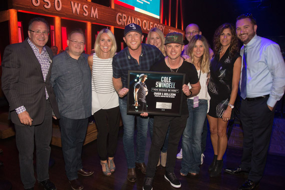 Pictured (L-R): Opry's Pete Fisher, WME's Kevin Meads, WMN's Kristen Williams, Cole Swindell, WMN's Megan Joyce, WMN's Justin Luffman, WMN's Cris Lacy, Sony/ATV's Terry Wakefield, KP Entertainment's Kerri Edwards, Sirius XM's J.R. Schumann.