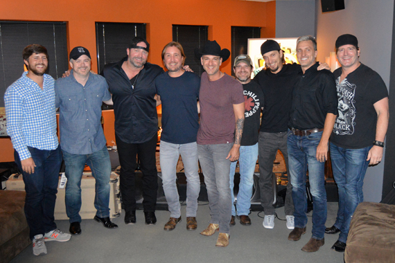 Pictured (L-R): Will Overton, Warner/Chappell; Ben Vaughn, Warner/Chappell; Lee Brice; Lance Miller; Craig Campbell; Rob Hatch; The Warren Brothers; Jerrod Neimann