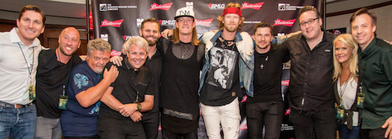 "Pictured (L-R): BMLG's John Zarling, BMLG's David Nathan, Big Loud Mountain's Craig Wiseman, BMLG's Jimmy Harnen, Big Loud Mountain's Seth England, FGL's Tyler Hubbard, FGL's Brian Kelley, Big Loud Mountain's Kevin ""Chief"" Zaruk, Producer Joey Moi, BMLG's Allison Jones and BMLG's Matthew Hargis."