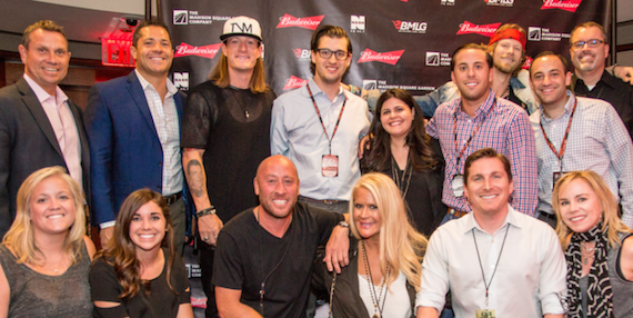 Pictured (L-R, front row): BMLG's Molly Fisher; BMLG's Katherine Susemichel; BMLG's David Nathan; BMLG's Allison Jones; BMLG's John Zarling; BMLG's Jackie Campbell; (L-R, back row): MSG's Ron Skotarczak, MSG's Matt Goldstein; FGL's Tyler Hubbard; MSG's David Rothstein; MSG's Nicole Marinake; MSG's Dylan Kramer; FGL's Brian Kelley; MSG's Andrew Karson; MSG's Randy Fibiger.