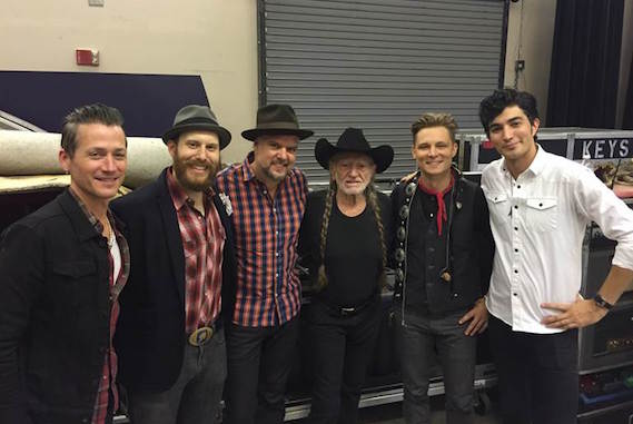Pictured (L-R): Robbie Harrington (bass), Billy Justineau (keys), Travis McNabb (drums), Willie Nelson, Frankie Ballard, Eddie Robinson (guitar)