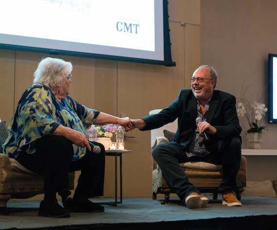 Music Row Storytellers honoree Hazel Smith and Mike Dungan, Chairman & CEO of Universal Music Group Nashville reminisce onstage.