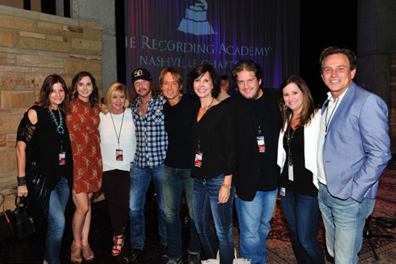 Pictured (L-R): Nashville Chapter Trustee, Tracy Gershon; Recording Academy Nashville Chapter Executive Director, Alicia Warwick; Recording Academy South Regional Director, Susan Stewart; Recording Academy Chair Emeritus, George J. Flanigen IV; four-time GRAMMY winner Keith Urban; MusiCares Sr. Executive Director, Debbie Carroll; Glenn Sweitzer of Fresh Film+Design; Nashville Chapter Secretary, Lori Badgett and Nashville Chapter Trustee Fletcher Foster. Photo: The Recording Academy/Frederick Breedon/WireImage.com