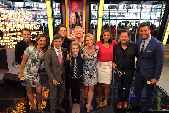 Pictured (L-R): Joey Gandolfo - guitar, GMA Host Ginger Zee, GMA Host George Stephanopoulos, Mike Naran- bass, Tegan Marie, Jack Mudd- drums, GMA Host Amy Robach, GMA Host Paula Faris, Ryan Phillips- mandolin and GMA Host Jesse Palmer. Photo: Tony Morrison/ABC News