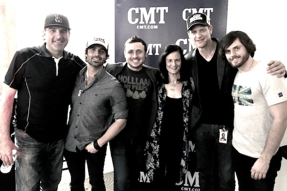 Pictured (L-R): David Huff, producer; Nate Bass; Mark Bass; Leslie Fram, CMT; Stacey Cato, CMT; Kieran Bass