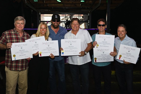 Pictured (L-R): BMI's Phil Graham and Leslie Roberts, BMI singer-songwriter Toby Keith, BMI's David Preston, BMI songwriter Scotty Emerick, BMI's Jody Williams. Photo: Nathan Zucker