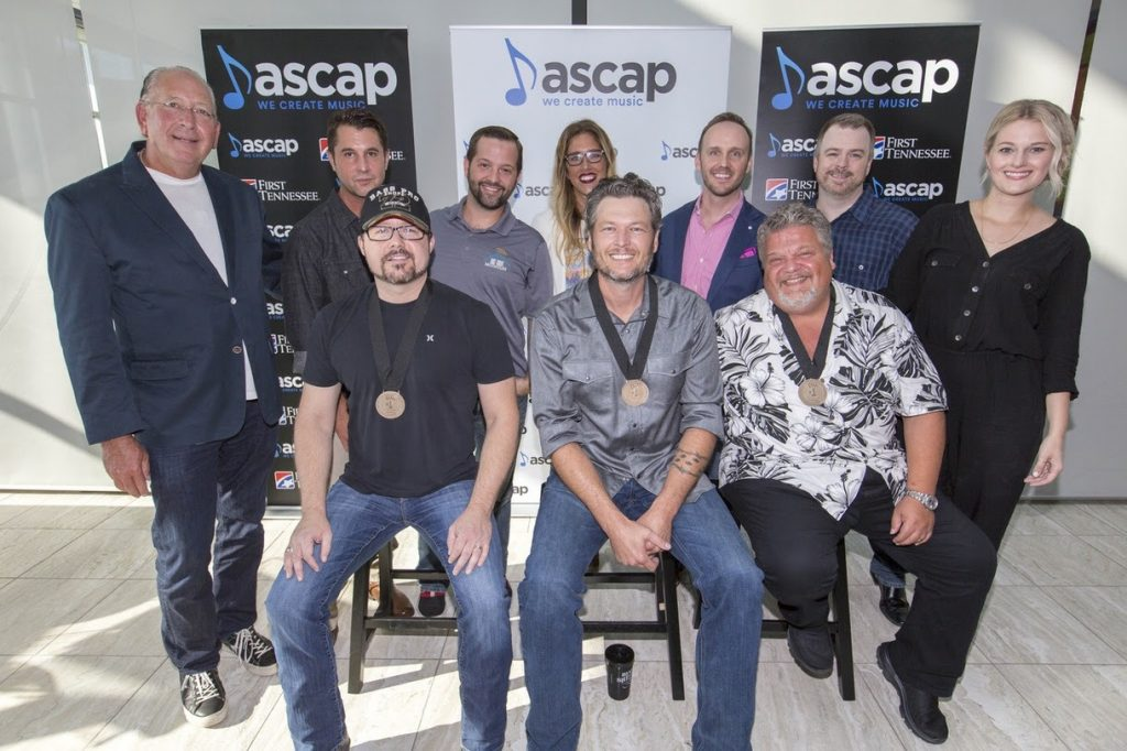 Pictured (L-R): Warner Music Nashville Chairman/CEO John Esposito, ASCAP VP of Nashville Membership Michael Martin, songwriter Deric Ruttan, Big Loud Shirt's Matt Turner, Round Hill Songs' Penny Gattis, Blake Shelton, THiS Music's Rusty Gaston, songwriter Craig Wiseman, Warner/Chappell Music Publishing's Ben Vaughn, ASCAP's Beth Brinker