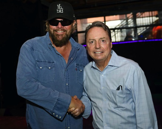 Pictured (L-R): Toby Keith and BMI's Jody Williams. Photo: Nathan Zucker