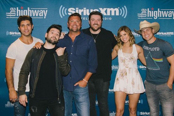 Pictured (L-R): Dan Smyers, Shay Mooney, Storme Warren, Chris Young, Cassadee Pope, and Dustin Lynch. Photo: Courtesy Sony Music Nashville