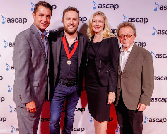 Pictured (L-R): ASCAP VP of Membership Michael Martin, Song of the Year co-writer/Songwriter of the Year Ben Glover, ASCAP CEO Elizabeth Matthews, ASCAP President and Chairman Paul Williams