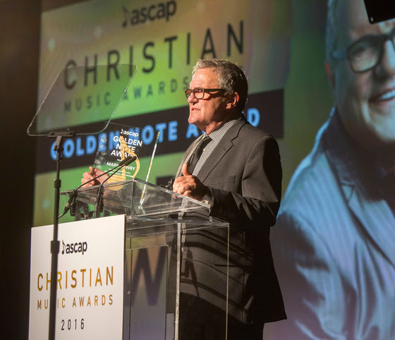 Mark Lowry is honored with the Golden Note Award. Photo: Ed Rode/ASCAP