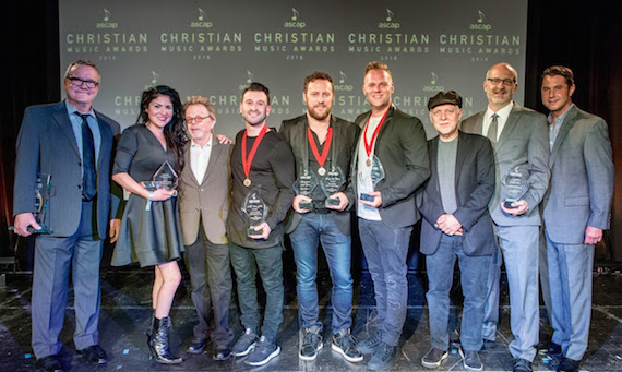 Pictured (L-R): ASCAP Golden Note Award honoree Mark Lowry, ASCAP Creative Voice Award honoree Jaci Velasquez, ASCAP President and Chairman Paul Williams, Song of the Year co-writer David Garcia, Song of the Year co-writer and Songwriter of the Year Ben Glover, Songwriter-Artist of the Year Matthew West, Phil Keaggy, Publsher of the Year Capitol CMG EVP Casey McGinty, ASCAP VP of Membership Michael Martin