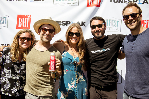 BMI's Nina Carter, guitarist Ford Thurston, BMI singer-songwriter Bonnie Bishop, Tunespeak's Tom Pernikoff and BMI's David Classaan hang out back stage at the BMI/Tunespeak stage at Loufest. (Photo: Jason Gonulsen.)