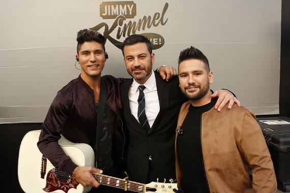 Pictured (L-R): Dan Smyers, Jimmy Kimmel, Shay Mooney