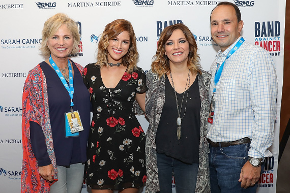 Pictured (L-R): Dee Anna Smith, CEO Sarah Cannon, the Cancer Institute of HCA; Cassadee Pope; Martina McBride; and Erol R. Akdamar, FACHE, President of the HCA North Texas Division attend Band Against Cancer: The Sarah Cannon Tour. Photo: Rick Kern/Getty Images