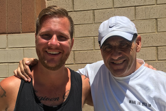 Jim Asker (R) with Jamie Graves (L) after a recent training run. Photo courtesy Jim Asker.