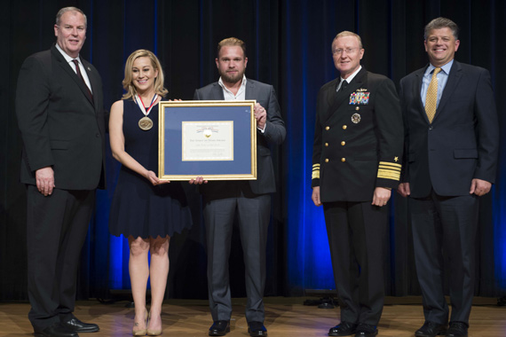 Pictured (L-R): Robert O. Work, Deputy Secretary of Defense; Kellie Pickler; Kyle Jacobs; Vice Admiral Frank. F. Pandolfe; Assistant to the Chairman of the Joint Chiefs of Staff, Mr. Michael Rhodes; Director of Administration, Office of the Deputy Chief Management Officer. Photo: Navy Petty Officer 1st Class Tim D. Godbee