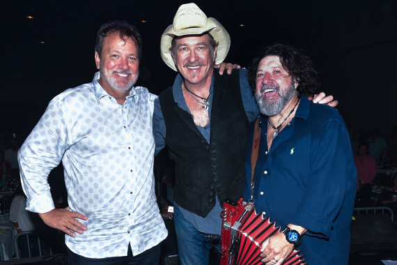 Kix Brooks (center) gathers with event organizers Chris Foreman (left) and Wayne Toups at #AcadianaStrong, a concert to benefit flood victims in South Louisiana. Photo: Scott Clause