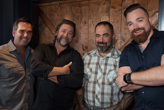 Vector Management's Ross Schilling, Dot Records' Chris Stacey, Aaron Lewis and Dot Records' Kris Lamb. Photo: Nate Rau
