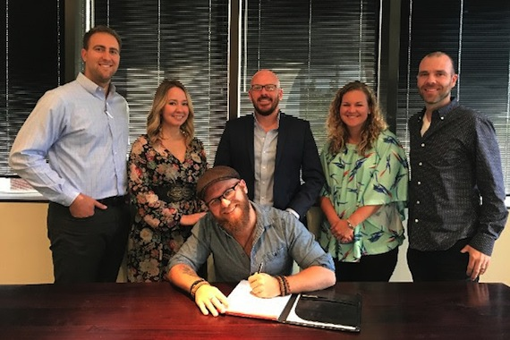 Pictured (L-R): Zach Opeim, Business Manager, Wiles + Taylor & Co.; Elise Anderson, Publicist, Nashville Music Media; Renn; Tim Gray, Manager and President, Grayscale Entertainment; Nina Carter, Associate Director of Writer-Publisher Relations, BMI; Austen Adams, Attorney, Dickinson Wright.