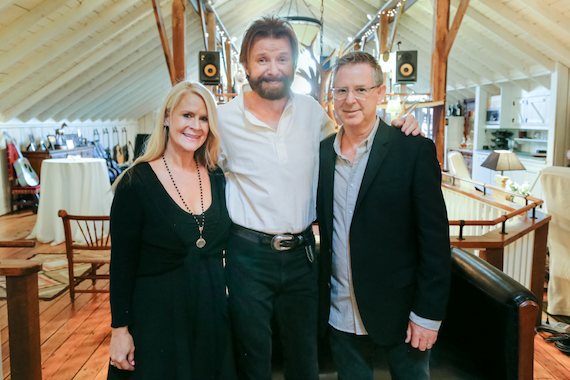 Pictured (L-R): Allison Jones, Sr. VP of A&R Big Machine Label Group; Ronnie Dunn; Jim Weatherson, GM Nash Icon. Photo: Jessica Valiyi