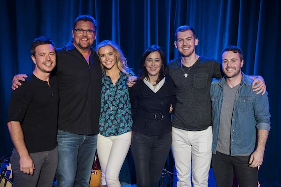 Band member Luke DeJaynes, AURORA Live host Storme Warren , Sarahbeth Taite, AURORA Live Executive Producer Rebecca Abrahams, and bandmembers Makenzie Schriner and Mark DeJaynes